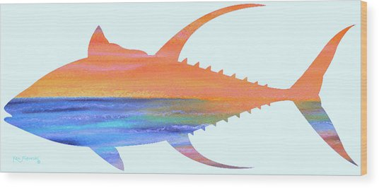 Yellowfin Sunset Beach Wood Print