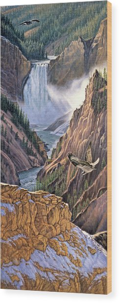 Yellowstone Canyon-osprey Wood Print
