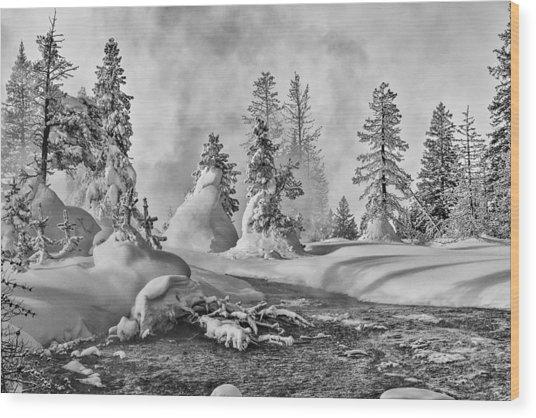 Yellowstone In Winter Wood Print