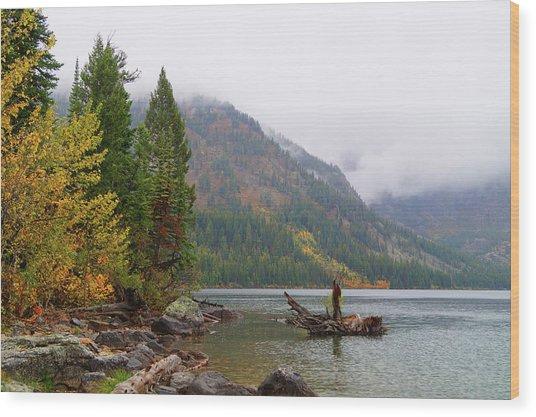 Yellowstone Lake Fall Wood Print