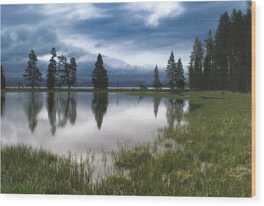 Yellowstone Lake Reflection Wood Print