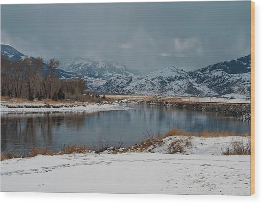 Yellowstone River In Light Snow Wood Print