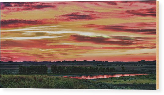 Yellowstone River Wildfire Sunset Wood Print