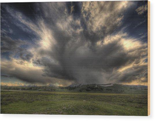 Yellowstone Storm Wood Print