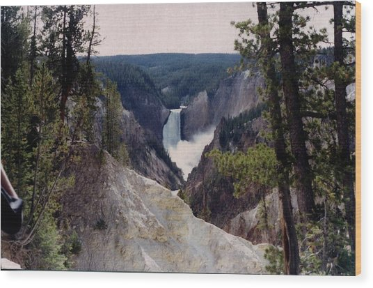 Yellowstone Water Fall Wood Print