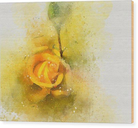 Yelow Rose Wood Print