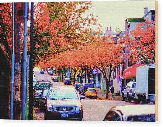 Yew Street Autumn Wood Print by Paul Kloschinsky