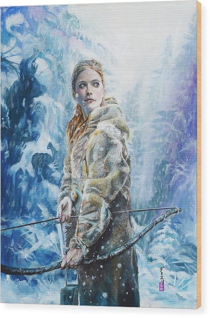 Wood Print featuring the painting Ygritte The Wilding by Baroquen Krafts