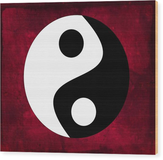 Yin And Yang Wood Print