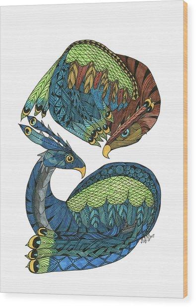 Yin Yang Dragons Wood Print