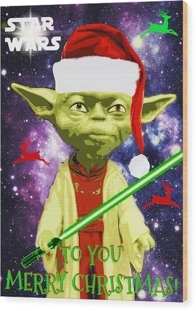 Yoda Wishes To You Merry Christmas Wood Print