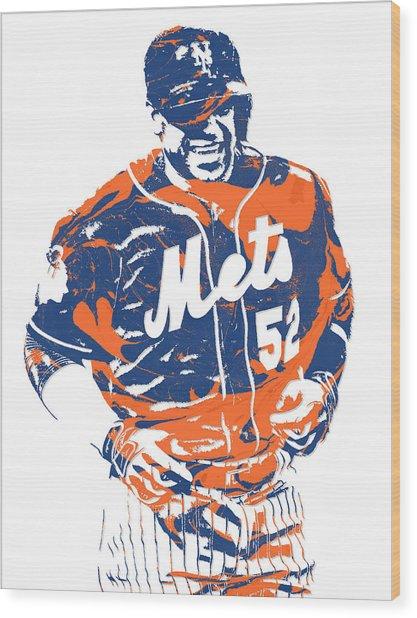 Yoenis Cespedes New York Mets Pixel Art 3 Wood Print