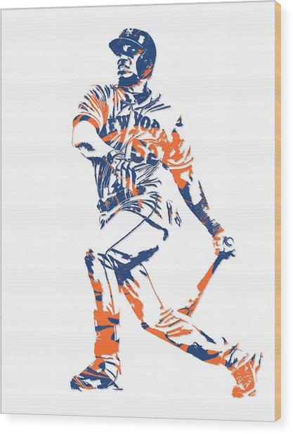 Yoenis Cespedes New York Mets Pixel Art 4 Wood Print