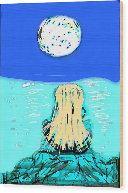 Yoga By The Sea Under The Moon Wood Print