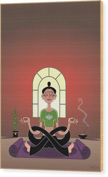 Yoga Pretzel Wood Print by Cristina McAllister