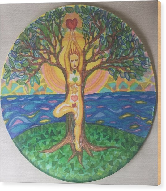 Yoga Tree Pose Wood Print
