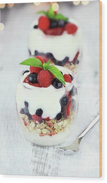 Yogurt Parfait Wood Print