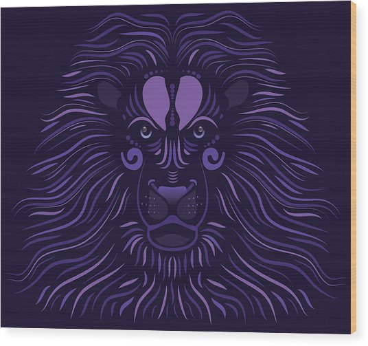 Yoni The Lion - Dark Wood Print