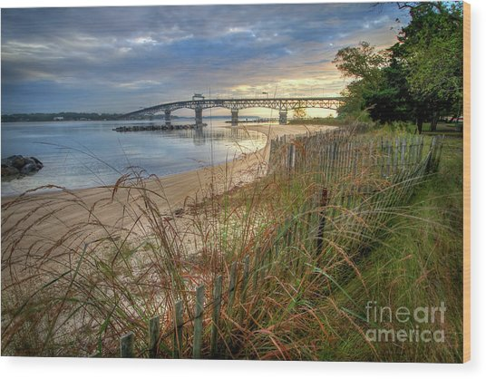 Yorktown Beach Sunrise Virginia Wood Print