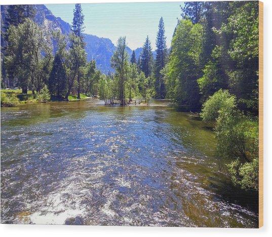 Yosemite River At Ease Wood Print