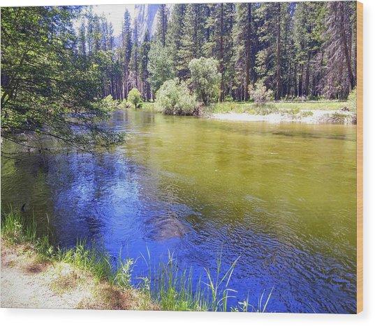Yosemite River Wood Print