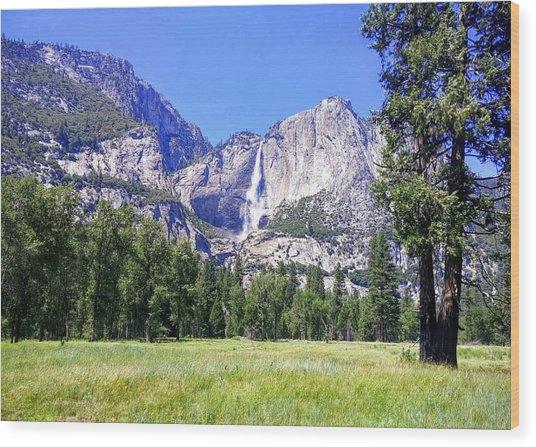Yosemite Valley Waterfall Wood Print