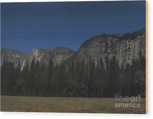 Yosemite At Night Wood Print by Richard Verkuyl