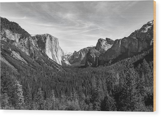 Yosemite B/w Wood Print