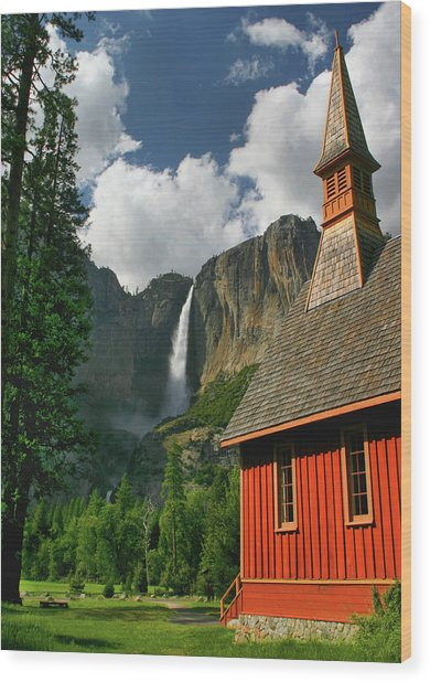 Yosemite Chapel Wood Print by Tom Kidd