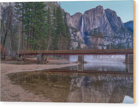 Yosemite Falls At The Swinging Bridge Wood Print