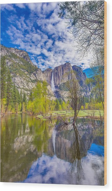 Yosemite Falls In Spring Reflection Wood Print