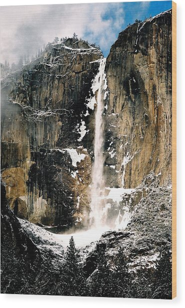 Yosemite Falls In Winter Wood Print by Michael  Cryer