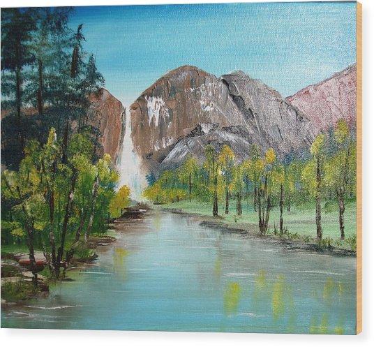 Yosemite Falls Wood Print by Larry Hamilton