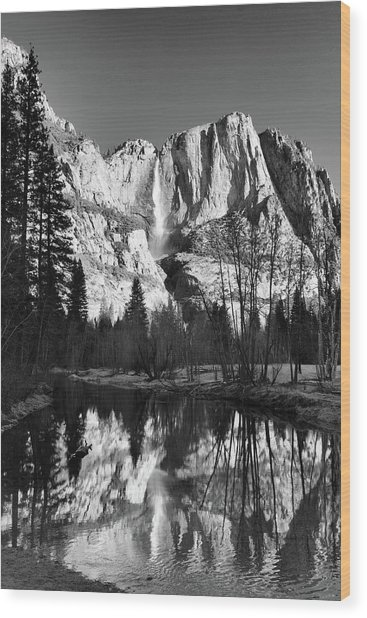 Yosemite Falls Reflections Wood Print by Stephen  Vecchiotti