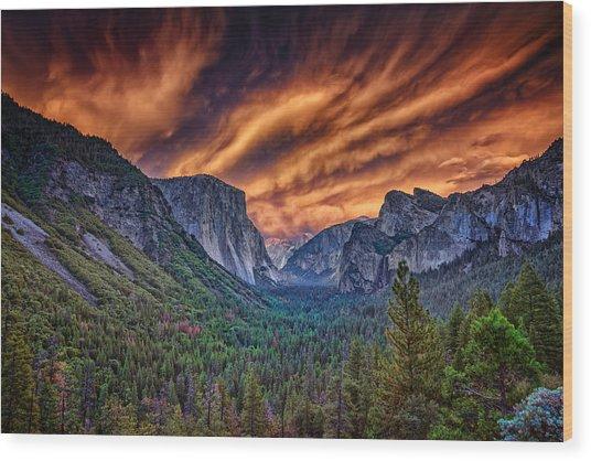 Yosemite Fire Wood Print