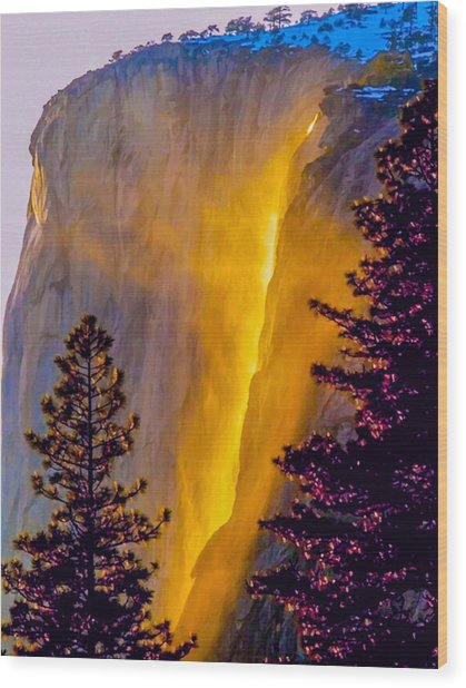 Yosemite Firefall Painting Wood Print