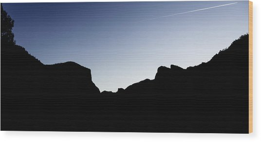 Yosemite In Silhouette Wood Print