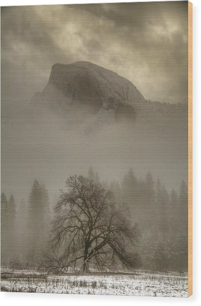 Yosemite In The Winter Wood Print