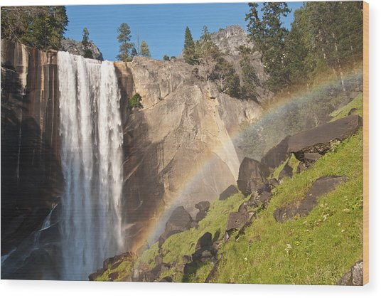 Yosemite Mist Trail Rainbow Wood Print