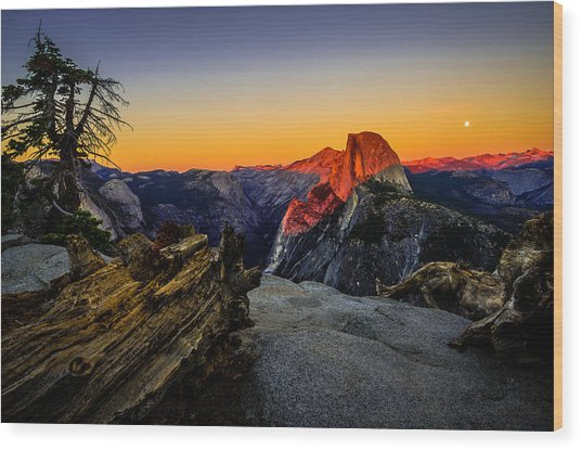 Yosemite National Park Glacier Point Half Dome Sunset Wood Print