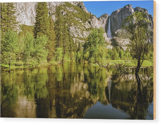 Yosemite Reflections On The Merced River Wood Print