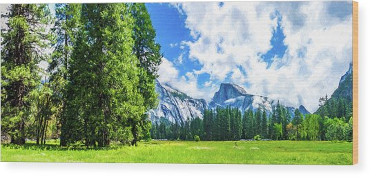 Yosemite Valley And Half Dome Digital Painting Wood Print