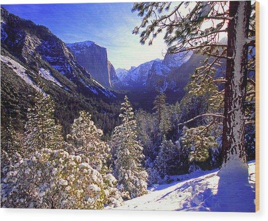 Yosemite Valley In Winter, California Wood Print