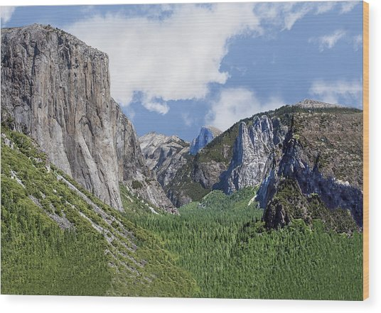 Yosemite Valley Showing El Capitan Half Dome And The Three Brothers Formation Wood Print