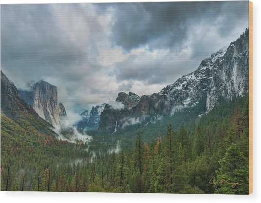 Yosemite Valley Storm Wood Print