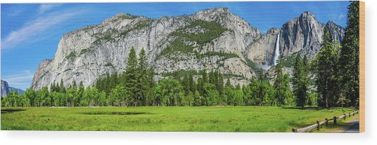 Yosemite West Valley Meadow Panorama #2 Wood Print