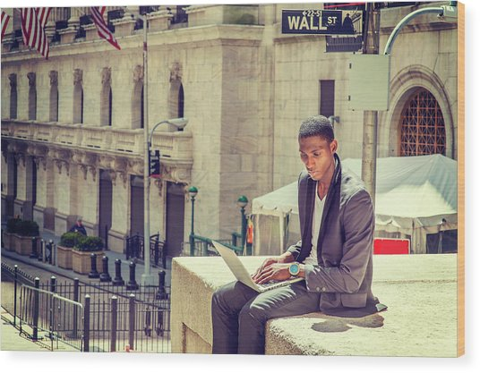 Young African American Man Working On Wall Street In New York Wood Print