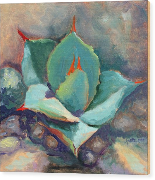 Young Agave Wood Print by Athena Mantle
