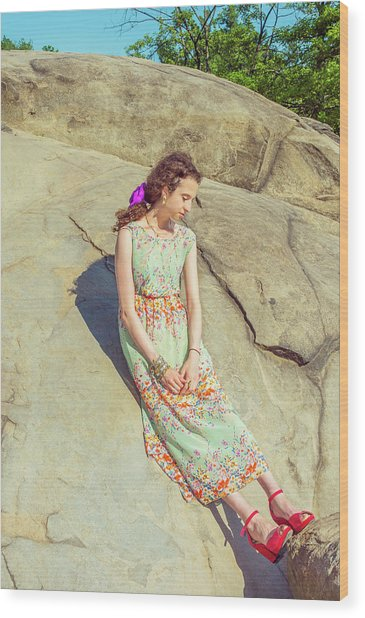 Young American Woman Summer Fashion In New York Wood Print