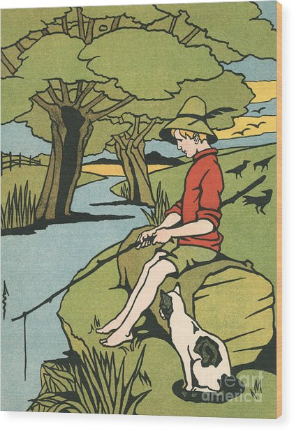 Young Boy Sitting On A Log Fishing In A Small River In The Country With His Cat Wood Print